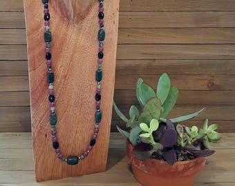 Beaded Necklace (green, purple, black, silver beads)