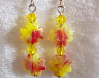 Yellow Red Earrings, Pressed Glass Flower Bead Earrings, Yellow Earrings, Red Earrings, Dangle Earrings, Clip ons Available, Glass Crystals