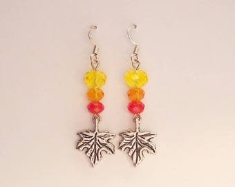 Fall Earrings, Autumn Earrings, Red Earrings, Orange Earrings, Yellow Earrings, Silver Leaf Charm Earrings, Glass Crystal Earrings, Clip ons