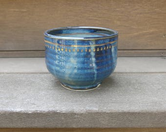 Blue and Gold Ceramic Tea Bowl, Desert Bowl, Home Decor Gift Idea, One of a Kind, Handmade Artisan Pottery by Licia Lucas Pfadt