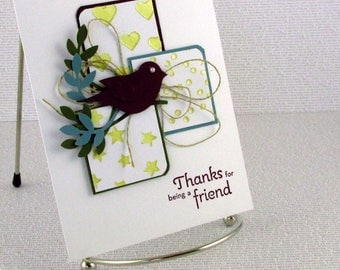 Thank You Card Thanks For Being a Friend Greeting Card of Appreciation Grateful Bird on Branch Thanks So Much Thx