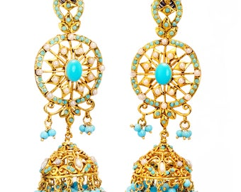 Turquoise Blue gold Victorian Earrings,large gold jhumka Chandelier Earrings,Turkish Jewellery,Indian wedding jewelry,Royal ethnic YJC346T