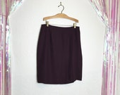 Vintage 1980s Aubergine High Waisted Plus Size Pencil Skirt