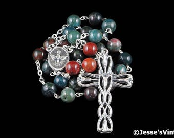 Anglican Rosary Beads Green Blue Red Indian Blood Stone Natural Stone Prayer Beads Silver Christian Episcopal Rosary Gift Mens Rosary