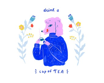 Creatures of Healthy Habits Poodle Drinking Tea by Sarah Walsh
