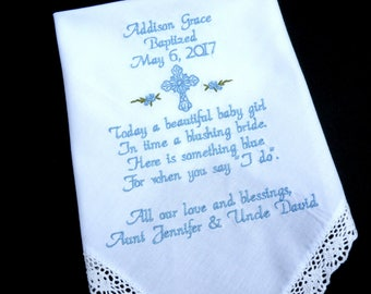 Special gift for a little girl Baptism Gift Embroidered Handkerchief Baptism Gift for Boy or Girl Personalized Dated Baptism Custom Gift