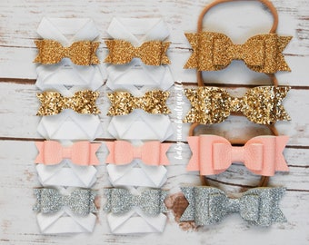 Baby Faux Leather Glitter Bow Headbands; Baby Girl Silver Pink Fine Gold and Chunky Gold layered bows; 4 pc set; stretchy nylon headband