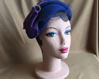 Vintage 50's Blue Hat, Bright Blue Felt Hat with Satin Bow, Rhinestones, Net, Rockabilly, Mid Century