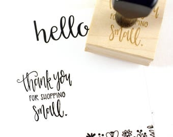 Shop Exclusive - Thank you for shopping small rubber stamp - modern calligraphy hand lettered stamp - small business stamp