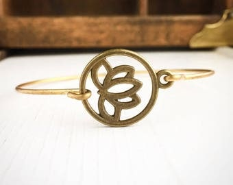 Lotus Flower Bangle Bracelet / Boho Bohemian Stacks Lover Gift Gypsy Yoga Teacher Gift Hippie Wedding Bridesmaids Bridal Party Lotus Petal