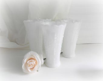 Vintage Milk Glass Vases Teardrop Pattern Wedding Vases Set of 5