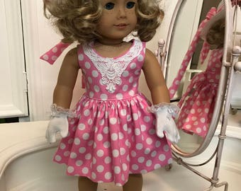 American Made Easter dress with matching hat made to fit  18 inch  Doll or Chatty Cathy doll