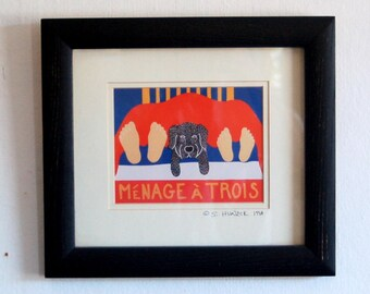 "Early Stephen Huneck ""Ménage à Trois"" Black Lab Dog Giclee ~ Hand Signed Black Ink Framed, From the Stephen Huneck Gallery in Nantucket, MA"