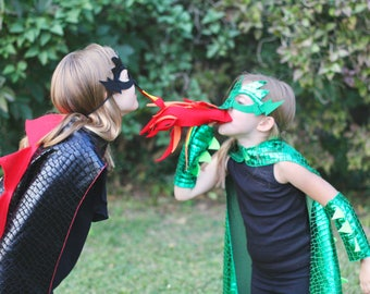 Fast shipping DRAGON Costume Cape with scales and spikes + optional Dragon Mask and Full Costume - Kids Halloween Dragon Costume