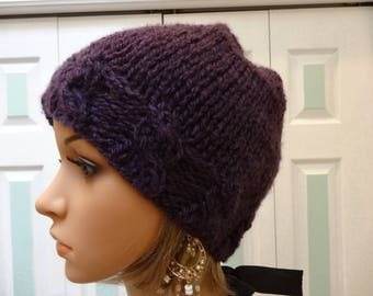 PLUM /PURPLE HAT,A warm winter hat, hand knitted in an acrylic Mohair yarn, large cable stitch  design on forehead, slouchy style