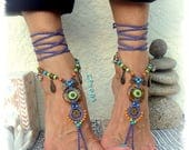 TIGER EYE Barefoot SANDALS Purple Lotus Wedding accessories beaded Crochet sandal Foot jewelry Yoga Gypsy Bohemian summer Sun Beach GPyoga