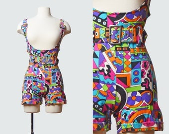 Vintage 90s MOD Pucci Print Playsuit Romper / 1990s One Piece Playsuit Shorts Overalls Sleeveless 90s S