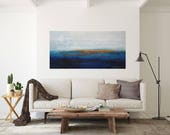 "Coastal living seascape long rectangular extra large abstract in blue original art for casual beach living 48""x24"" Ocean at sunset"