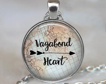 Vagabond Heart necklace, traveler's quote gift for traveler wanderlust vagabond gypsy travel jewelry key chain keychain key ring key fob