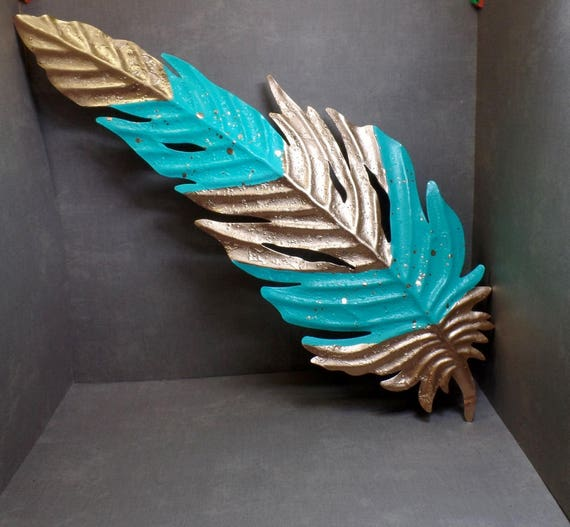 Blue & Gold Bohemian Metal Feather - Feather Wall Hanging - Feather Wall Decor - Feather Wall Art
