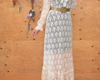 Vintage 70's Cream Lace Dress Romanticl Free People Style A-line Maxi Great For A Wedding Size Small