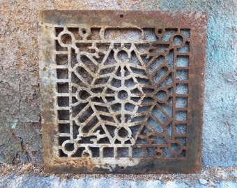 Antique Cast iron Grate Floor Wall Square Architectural salvage Deco Victorian Gothic Decorative