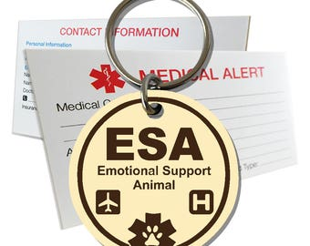 ESA Emotional Support Animal ID Tag Pre-Engraved Round Plastic SD6