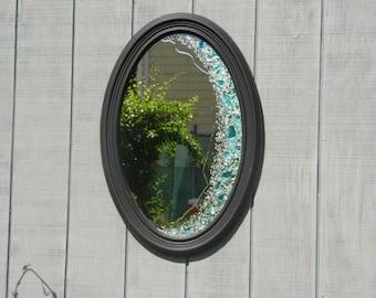 Black Oval Sea Glass Mirror