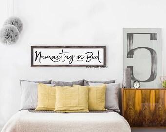 Namast'ay in Bed Sign / Wood Sign / Yoga Decor / Hippe Decor /  Wall Decor / Bohemian Wall Art,Bedroom Sign, Framed Sign, Namaste, Kitchen