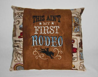 Western Embroidered Brown Suede & Cotton Pillow, Cabin Decor, Lodge Decor, Rodeo, Cowboy, Decorative Pillow, Accent Pillow, Western Decor