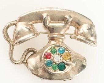 Vintage Jewelry, Rhinestone Jewelry, Telephone Brooch, Cute Phone Pin, Vintage Brooch, Colorful Rhinestone Brooch Gold Tone Figural Brooch