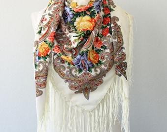 Large Russian shawl Ivory Ukrainian scarf Babushka scarf Floral shawl folk scarf fringed shawl valentines day gift for her birthday gift