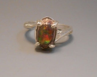 Opal Genuine Recycled Fire Opal Mexican Opal Jelly Opal Sterling Silver Ring October Birthstone Opal in Matrix