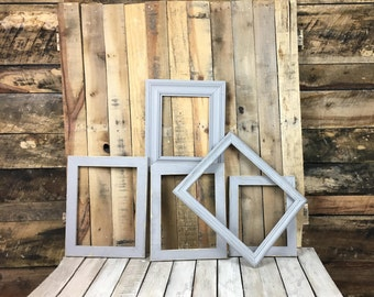 ON SALE - Stone Grey Picture Frame Set of 5, Rustic Hand Painted Set, 2- 8x10, 9x12, 10x13, 11x14  Photo Frame, Gallery Frame Set, Lot 46