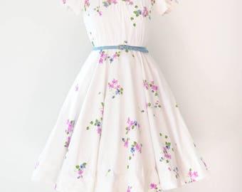 Vintage 1950's Blue & Purple Floral Dress