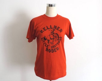 Kellner Rodeo T Shirt Vintage Tee Orange Small