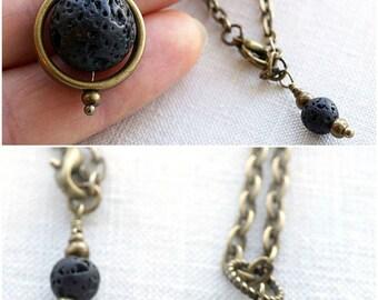 Valentine's gift Natural Stone Necklace Essential Oil Diffuser Necklace Orb Lava Planet Pendant Black Lava Full Moon Necklace Captain Nemo