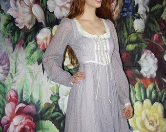 70s Vintage Gunne Sax Lavender Floral Lace Boho Prairie Maxi Wedding Dress - 70s Clothing - WV0390