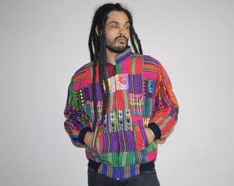 1990s Vintage Rainbow Woven Fresh Prince Mexican Blanket Bomber Jacket  - Vintage GUATEMALAN Bomber Jacket Woven - MV0607