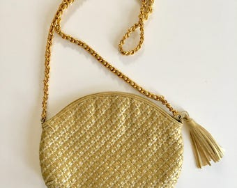 vintage gold leather bag - GOLD & SILVER woven purse