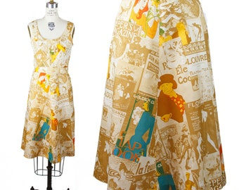 70s FRENCH NOVELTY  PRINT Shift Dress—Size 4
