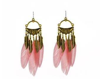 Coral pink feather tassel earrings - surgical steel earrings,long boho stainless steel earwires nickel free, hypoallergenic