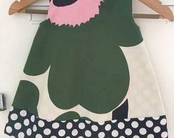 Size 1  Smock Baby Girl Dress. Green Marimekko Unikko Pattern.