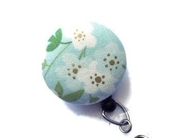 Floral ID Badge Reel/Retractable Badge Reel/ID Badge Holder/Nurse Gift/Teacher Gift/Badge Reels/Aqua Blue White ID Badge Reel