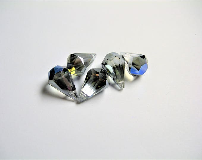 Crystal briolette  - 6 pcs - 11mmx17mm - top sideways drill - Faceted teardrop crystal  beads - Glacier grey blue ab - CBC13