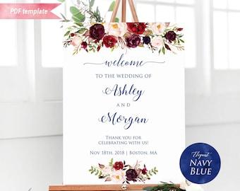 Printable Burgundy Floral Navy Blue Font Welcome Sign, Editable Wedding Ceremony Sign PDF Template, Large Poster DIY Instant Download #11