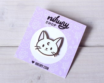 White Lunar Cat Enamel Pin - Gold Hard Enamel Pin / Lapel / Badge - Sailor Moon Artemis