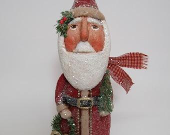 Paper Mache Santa - Folk Art Santa - Primitive Santa - OOAK Santa