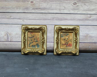 Vintage Big Eyed Cat Pictures in Ornate Frames, Kitty Cat Picture