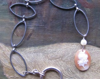 Necklace Extender/Bracelet with Antique Shell Cameo